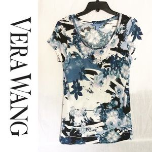 Vera Wang Blue and White Floral Blouse